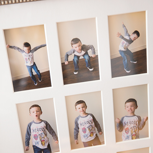 Studio images of little boy in picture frame