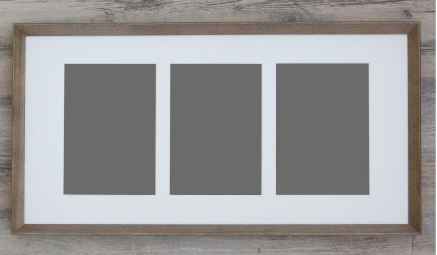 Blank horizontal picture frame that holds three images