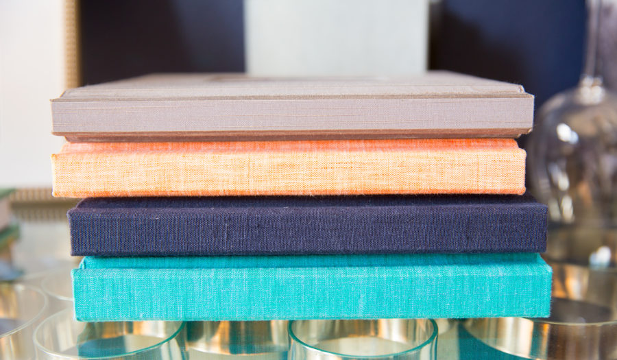 Colorful stacked picture albums