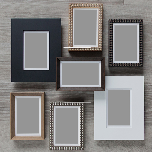 Collection of empty picture frames