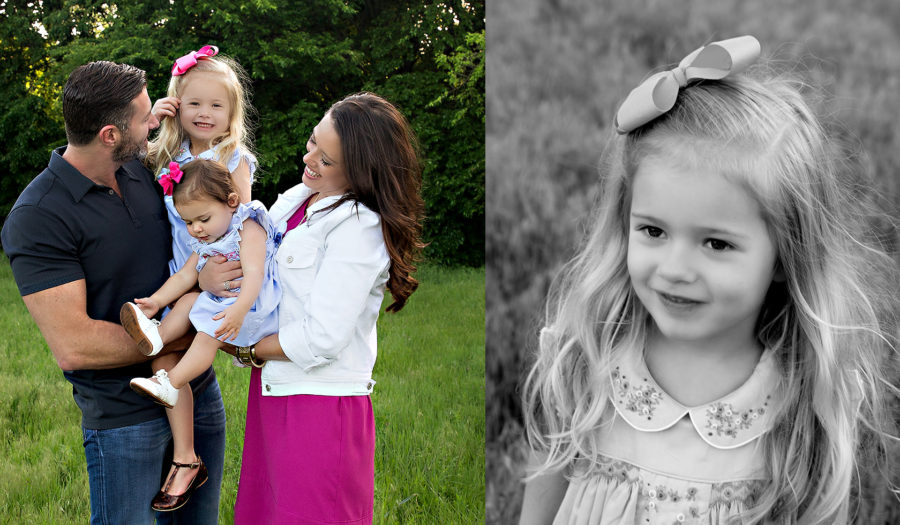 Collage of color and black and white photos of a family and their little girl